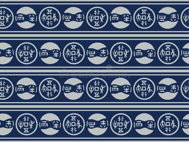 Stam- sömlös modell för japanskt cirkelband stock illustrationer