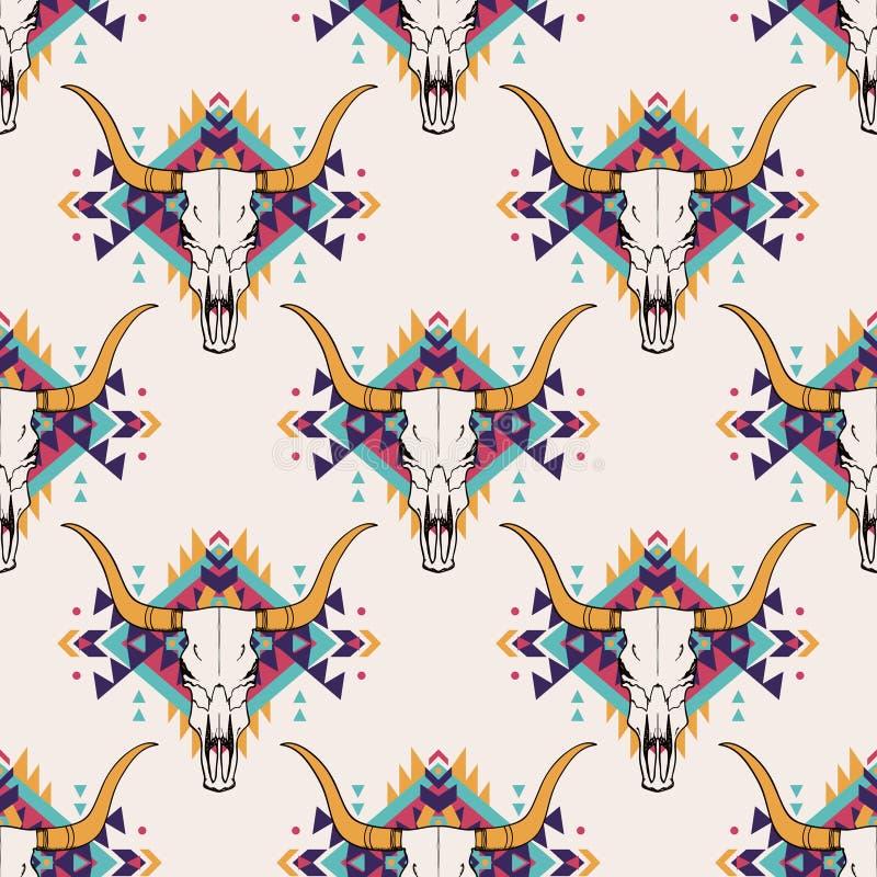 Stam- sömlös modell för vektor med tjurskallen och den dekorativa etniska prydnaden vektor illustrationer