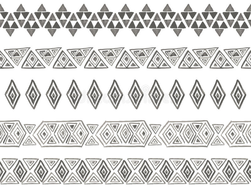 Stam- sömlösa borstar för vektor stock illustrationer