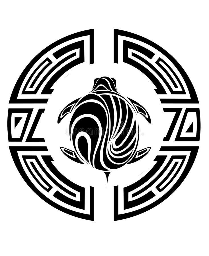 stam- sköldpadda för tatuering stock illustrationer