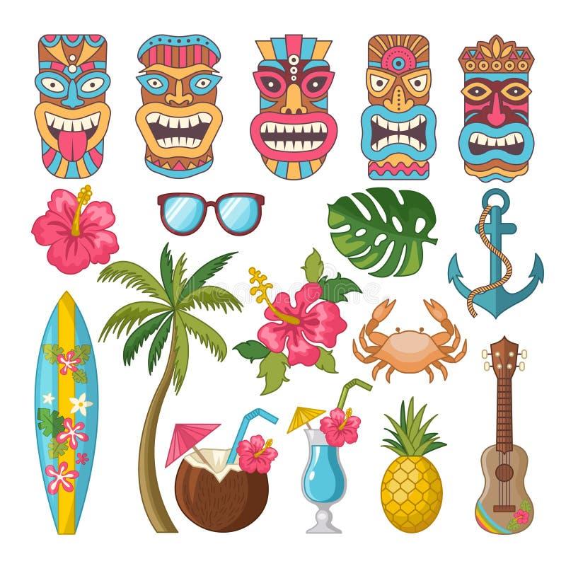 Stam- symboler av hawaiibo och afrikansk kultur stock illustrationer