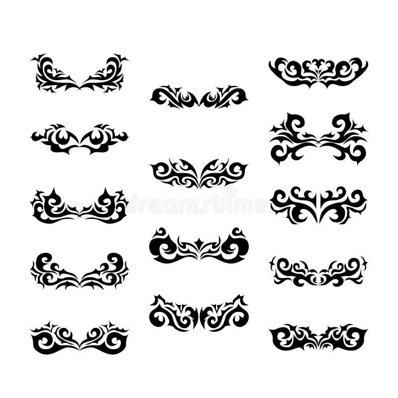 Stam- tatuering för maori - uppsättning av den stam- tatueringen för olik vektor i polynesian stil royaltyfri illustrationer