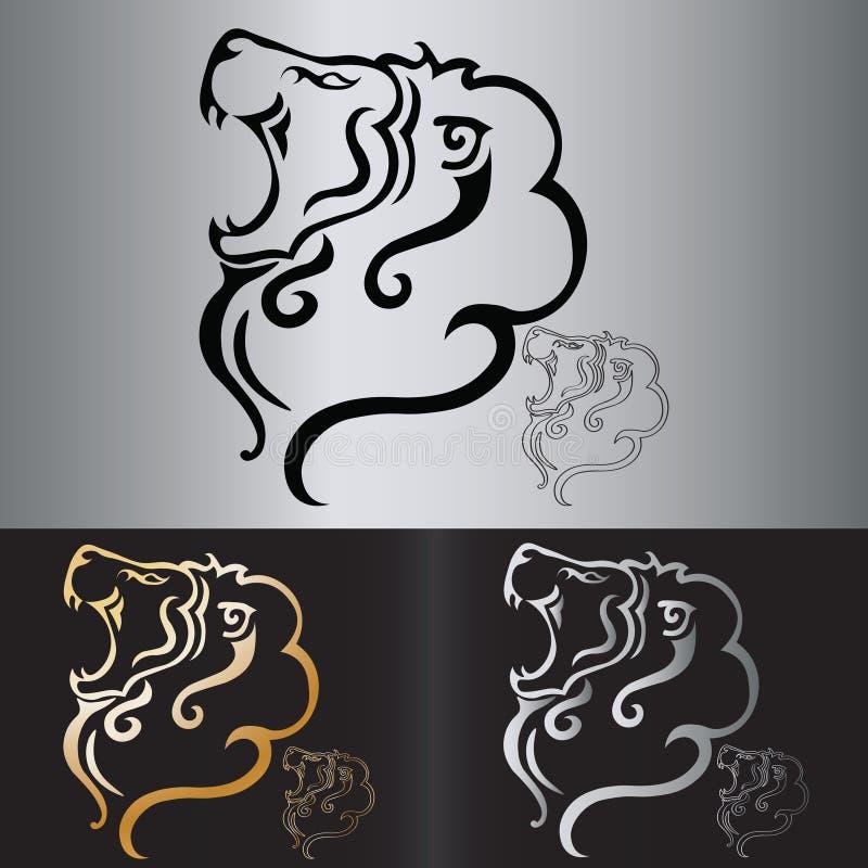 Stam- tatuering för vektorlejonhuvud vektor illustrationer
