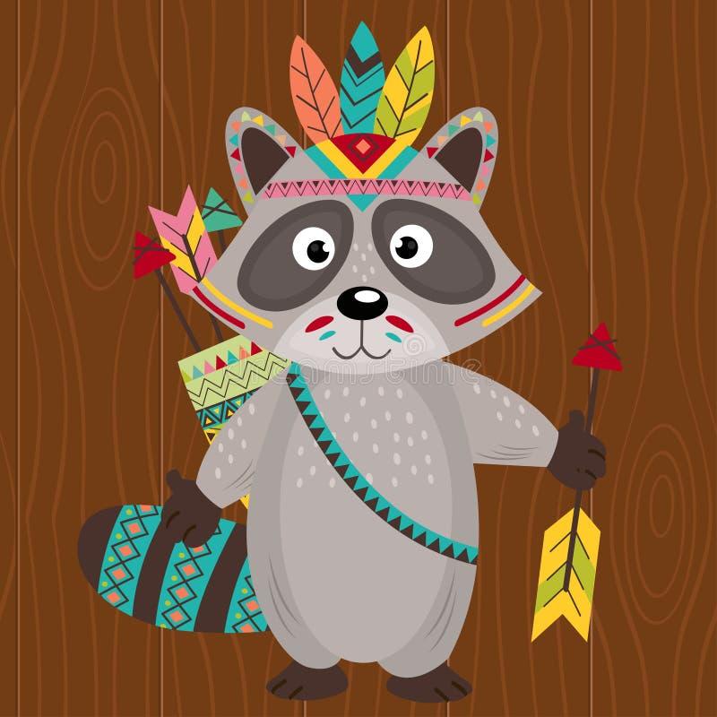 Stam- tvättbjörn på träbakgrund stock illustrationer
