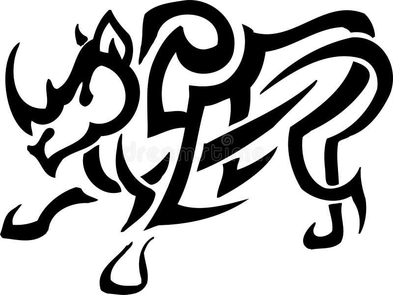 stam- vektor för illustrationnoshörningstil royaltyfri illustrationer
