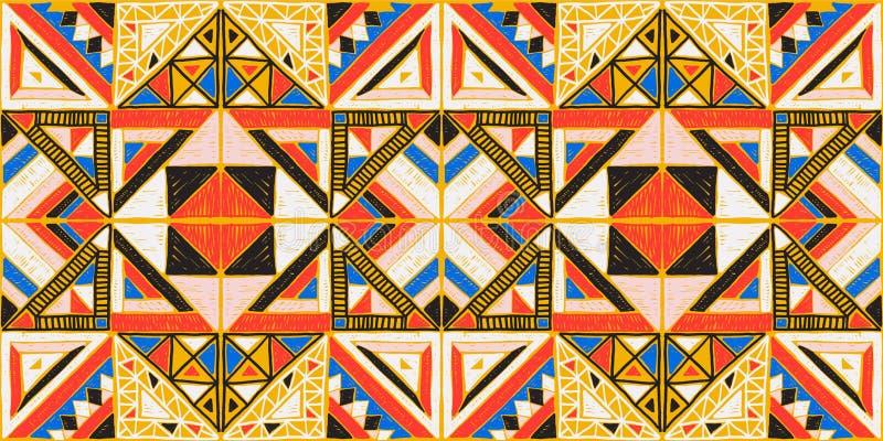 Stam- vektorprydnad seamless afrikansk modell Etnisk design på mattan Aztec stil vektor illustrationer