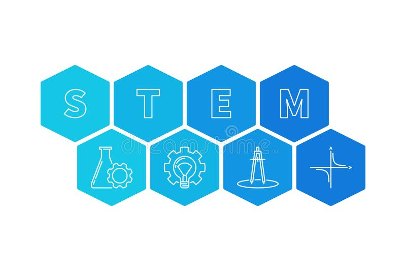 STAM - Wetenschap en Wiskunde vector hexagonale illustratie stock illustratie
