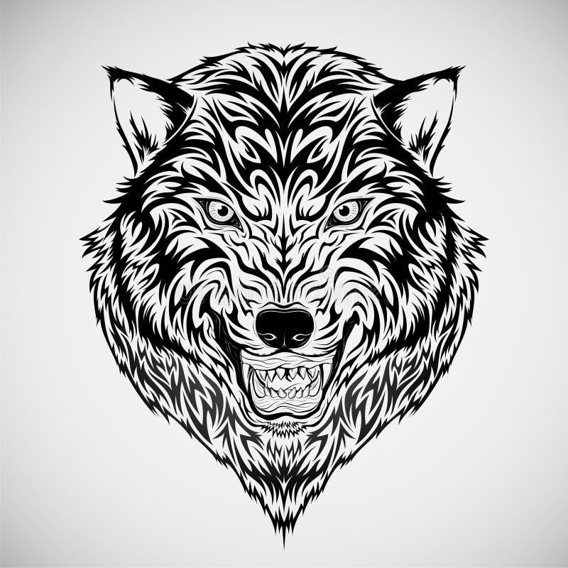stam- wolf för head tatuering royaltyfri illustrationer