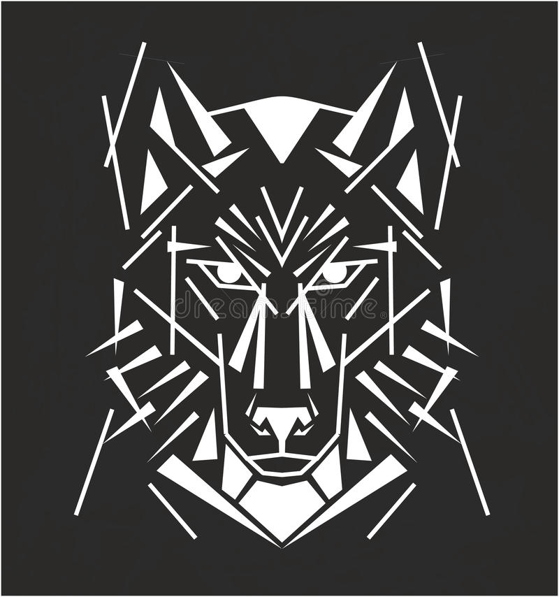 stam- wolf för tatuering royaltyfri illustrationer