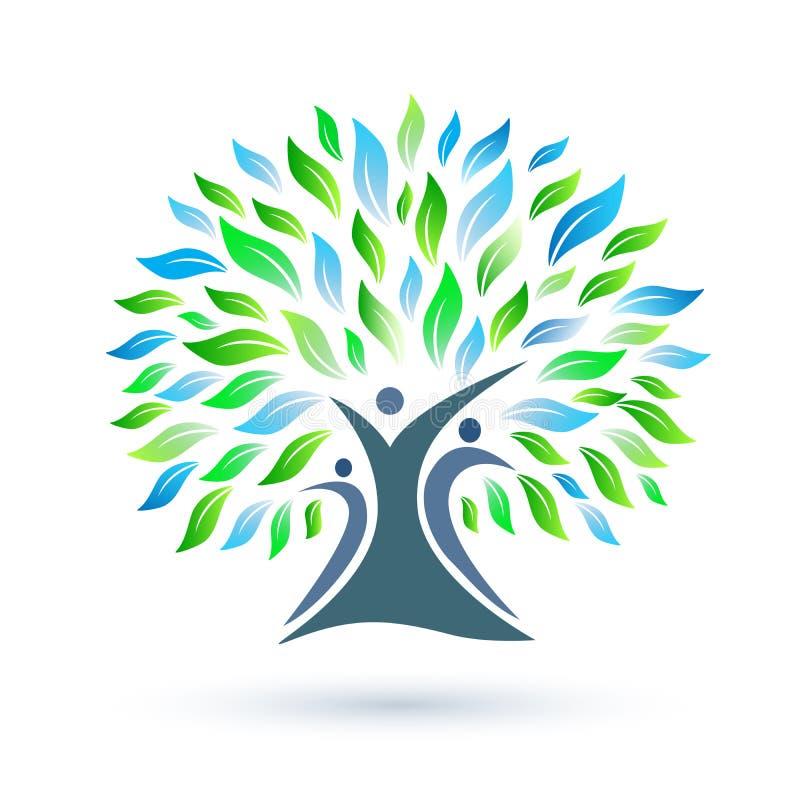 Stamboomembleem met groene en blauwe bladeren op witte achtergrond royalty-vrije illustratie
