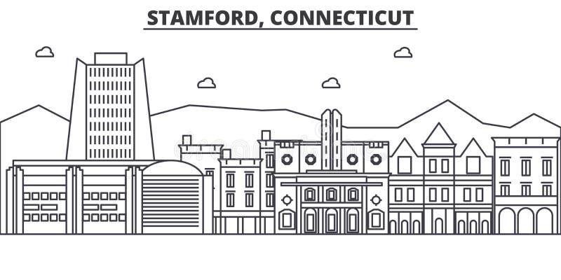 Stamford, απεικόνιση οριζόντων γραμμών αρχιτεκτονικής του Κοννέκτικατ Γραμμική διανυσματική εικονική παράσταση πόλης με τα διάσημ ελεύθερη απεικόνιση δικαιώματος