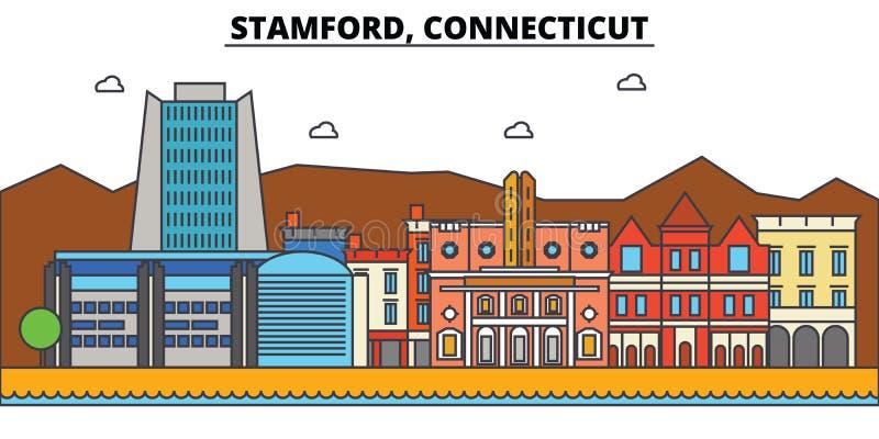 Stamford Connecticut Stadshorisontarkitektur vektor illustrationer