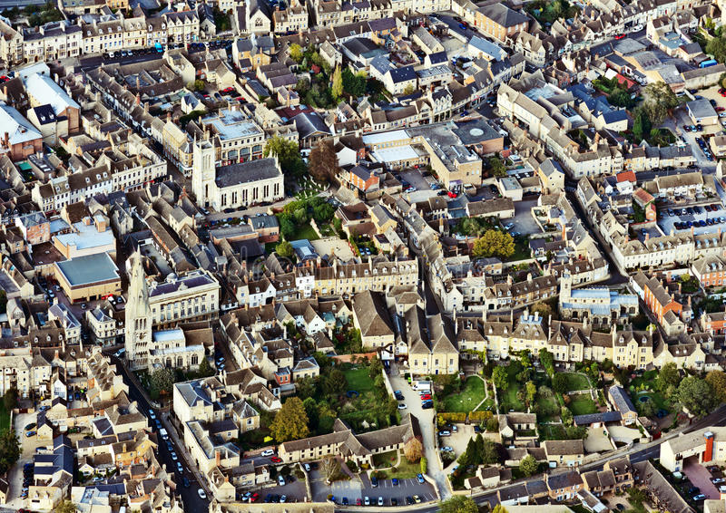 Stamford, Lincolnshire, England. Aerial view of Stamford, Lincolnshire, England, a mainly stone town untouched by the industrial revolution; most of its royalty free stock photography