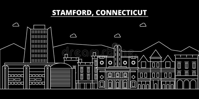 Stamford-silhouethorizon De V.S. - De vectorstad van Stamford, Amerikaanse lineaire architectuur, gebouwen Stamford-reis royalty-vrije illustratie