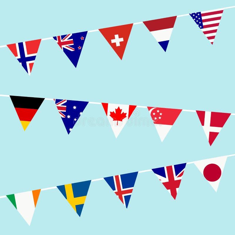 Stamina con le bandiere della maggior parte dei paesi sviluppati nel mondo illustrazione di stock
