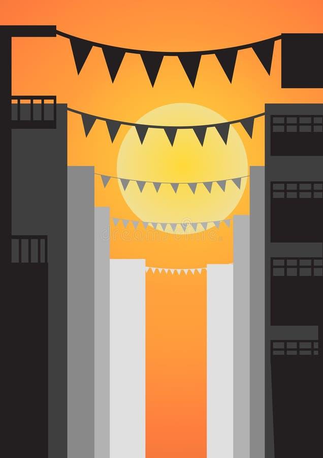 Download Stamina Sulla Città Prima Del Tramonto Illustrazione Vettoriale - Illustrazione di stamina, giusto: 56876536