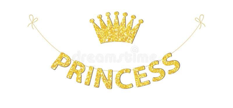 Stamina sveglia come lettere festive di scintillio e corona per la vostra decorazione illustrazione di stock