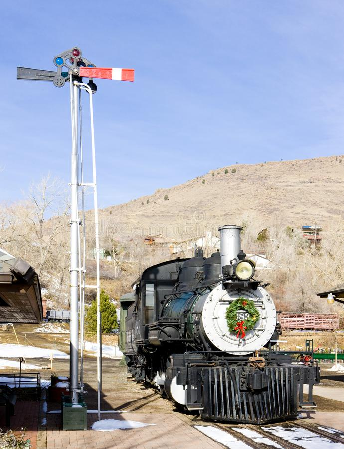 stamlokomotiv i det Colorado järnvägmuseet, USA arkivfoton
