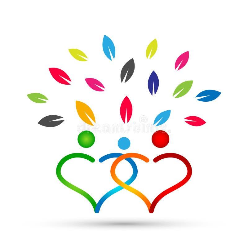 Stammbaum in den Herzbaumsymbolen erziehen, das Kind und erziehen, Sorgfalt, Gesundheitserziehungsikonen-Entwurfsvektor auf weiße lizenzfreie abbildung