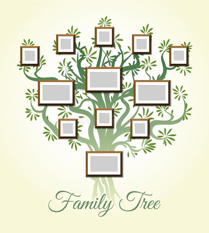 Stammbaum mit Foto gestaltet Vektorillustration Eltern- und Kinderbilder, Dynastie von Generationen lizenzfreie abbildung