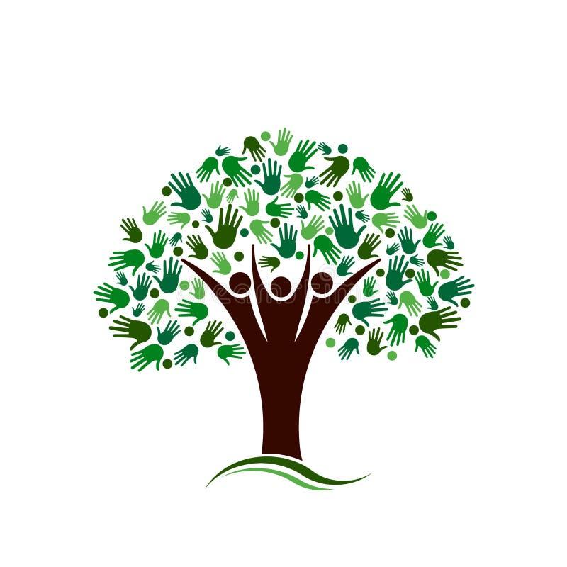 Stammbaum mit Handnetz-Vektorlogo vektor abbildung