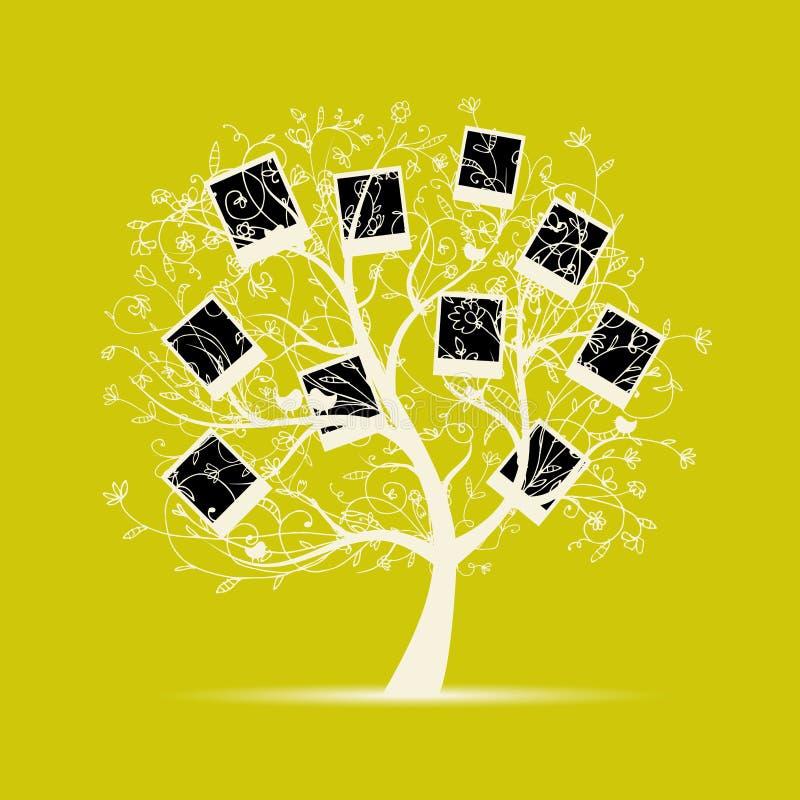 Stammbaumauslegung, stecken Ihre Fotos in Felder ein vektor abbildung