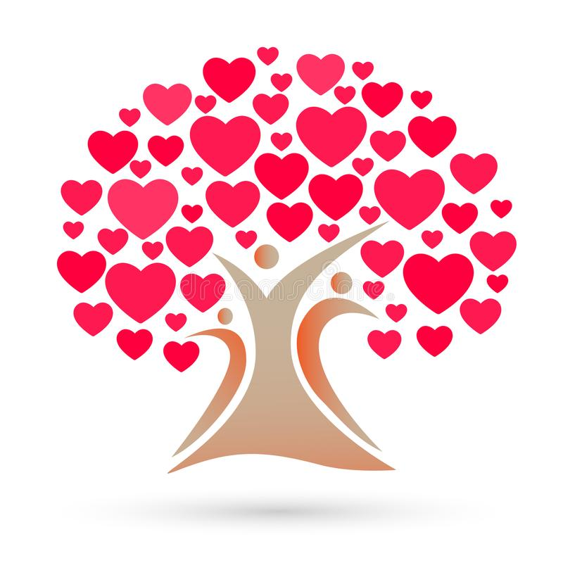 Stammbaumlogo, Familie, Elternteil, Kinder, rotes Herz, Liebe, Parenting, Sorgfalt, Symbolikonen-Designvektor lizenzfreie abbildung