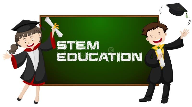 Stammbildung und zwei Schulabgänger stock abbildung