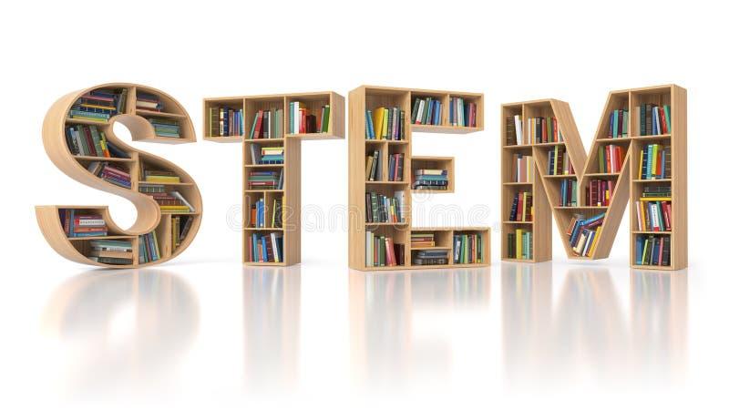 STAMMbildungskonzept Bookshelvs mit Büchern in Form von tex stock abbildung