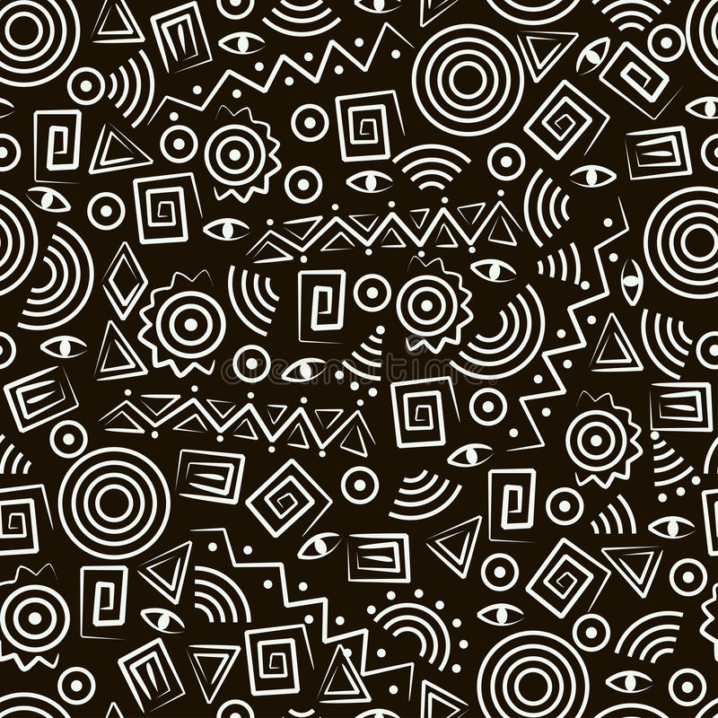 Stammen art. Naadloos patroon met abstracte cijfers stock illustratie
