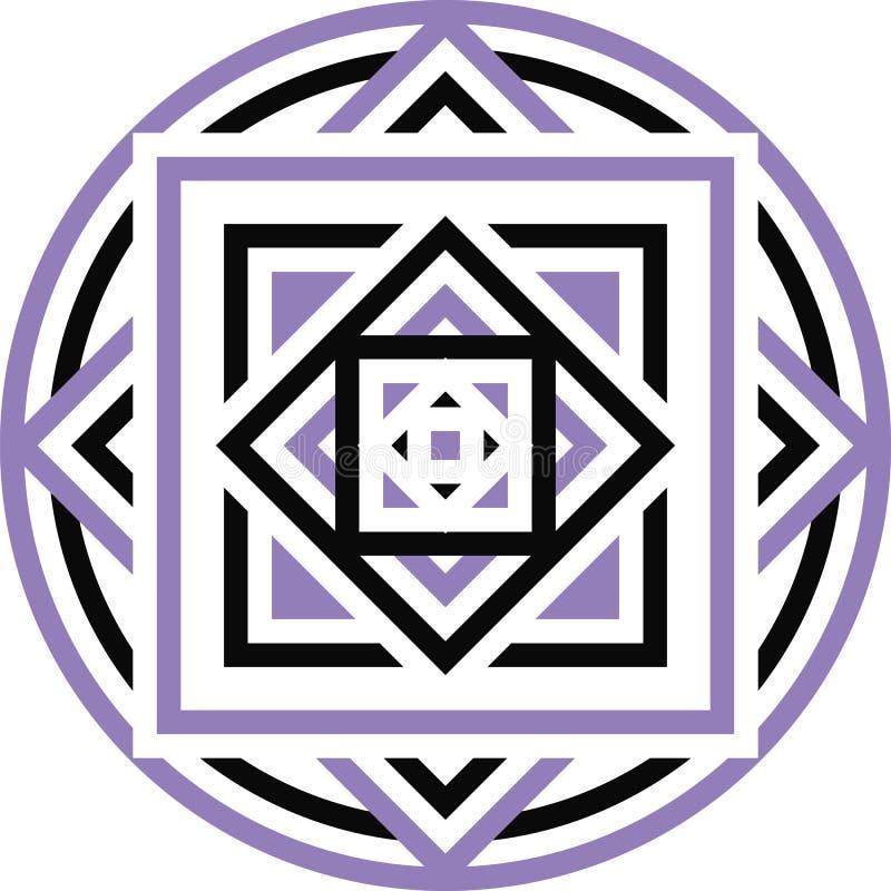 Stammen Azteekse geometrische patroon of druk in cirkel vector illustratie
