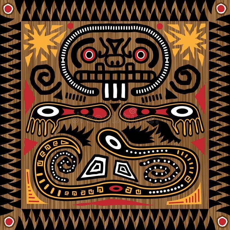 Stammen Azteekse Tegel royalty-vrije illustratie