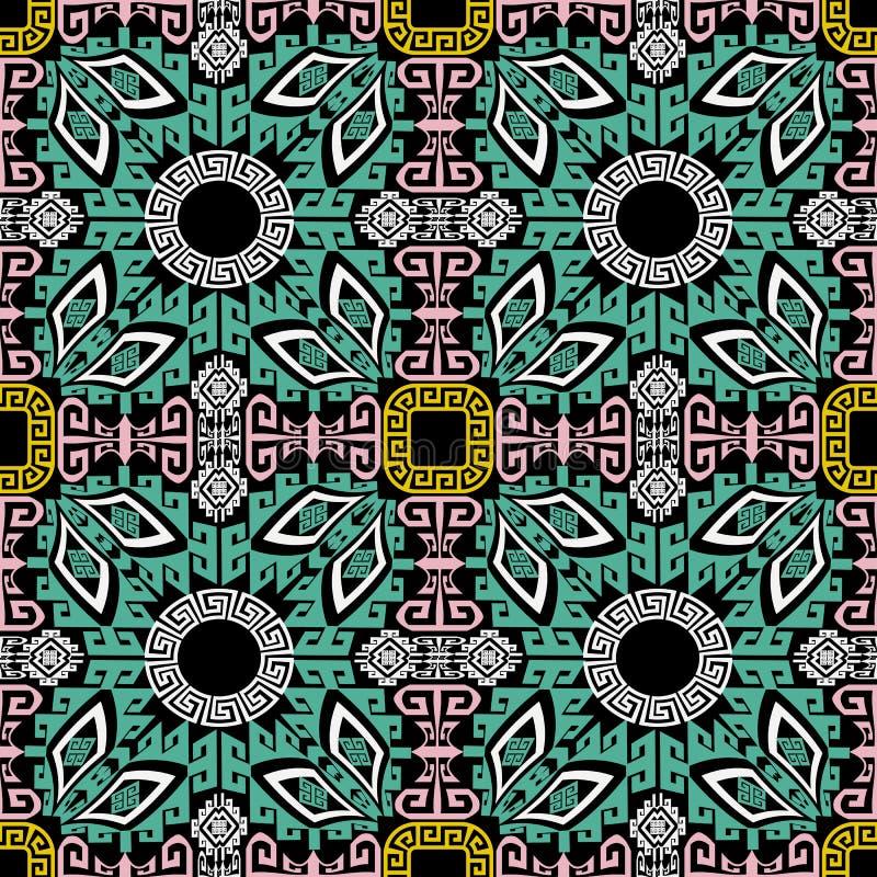 Stammen en etnisch naadloos patroon Geometrische kleurrijke Griekse achtergrond Sier herhaal abstracte achtergrond Decoratieve Gr stock illustratie