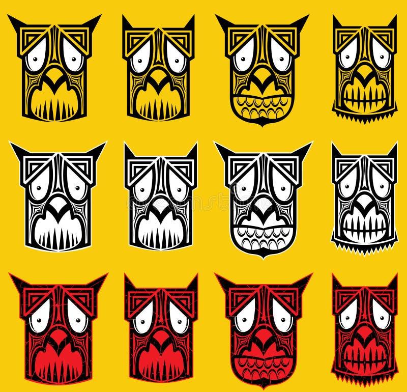 Stammen enge Halloween-de mascotteillustratie van de schedeltotem royalty-vrije illustratie