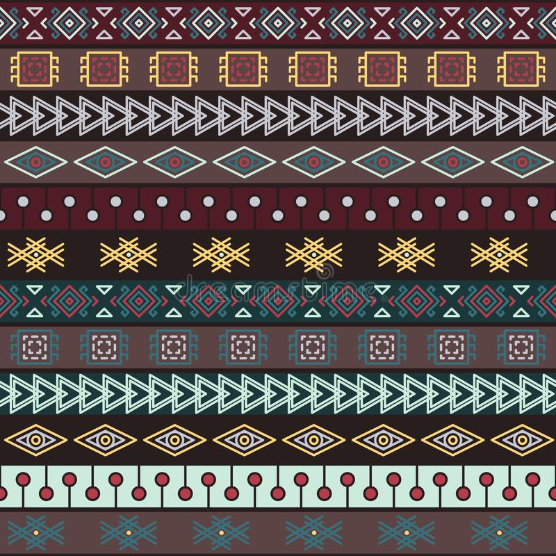 Stammen gebreid naadloos patroon, Indische of Afrikaanse etnische lapwerkstijl stock illustratie