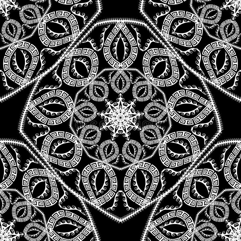 Stammen geometrisch zwart-wit Grieks vector naadloos patroon Etnische stijl sier abstracte achtergrond royalty-vrije illustratie