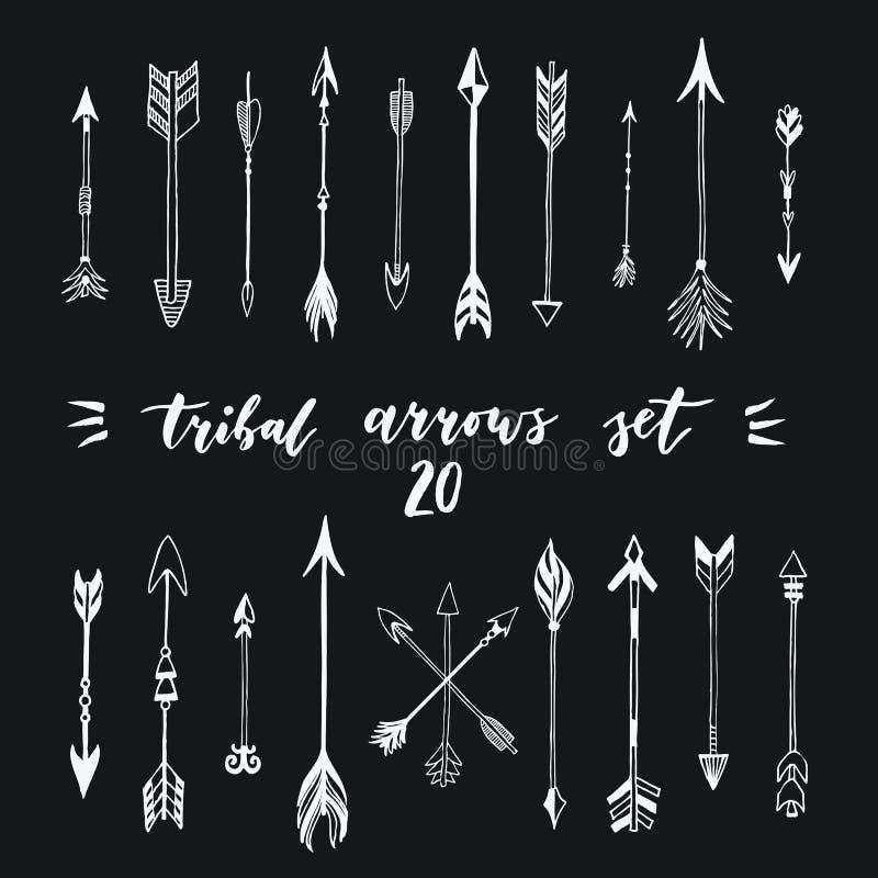 Stammen geplaatste pijlen Verschillende inheemse Amerikaanse pijleninzameling Decoratieve vector gestileerde illustratie van bome royalty-vrije illustratie