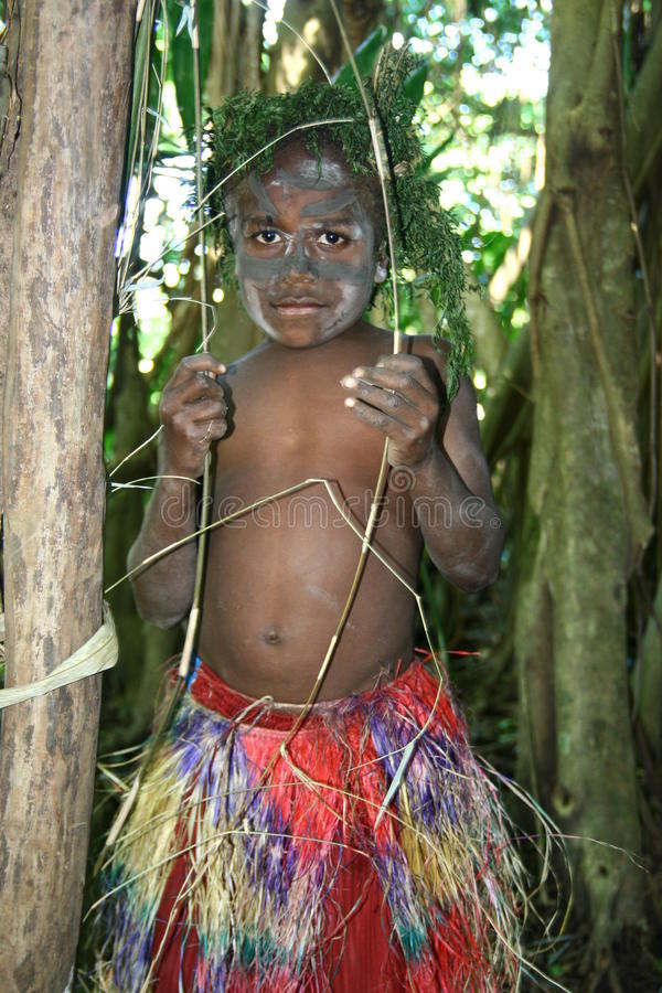 Stammen het dorpsjongen van Vanuatu royalty-vrije stock afbeelding