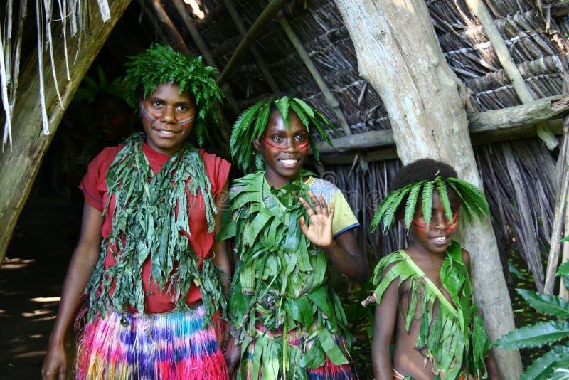Stammen het dorpsmeisjes van Vanuatu stock afbeeldingen