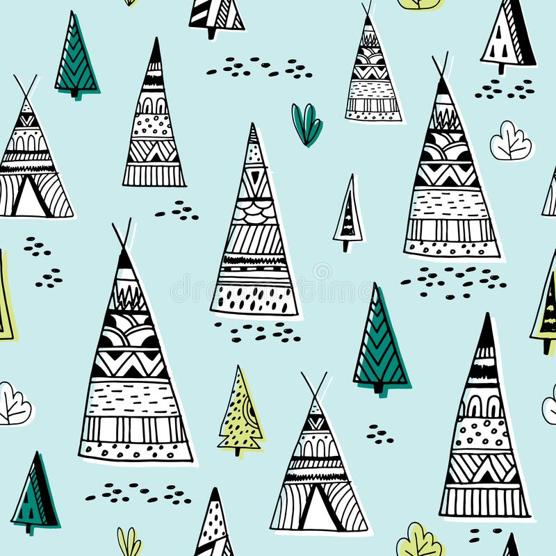 Stammen Indisch wigwampatroon Krabbel kinderachtige minimalistische achtergrond Vector illustratie royalty-vrije illustratie