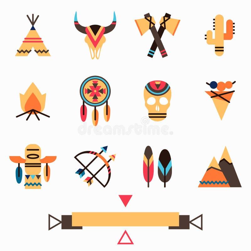 Stammen kleurrijke geplaatste pictogrammen stock illustratie