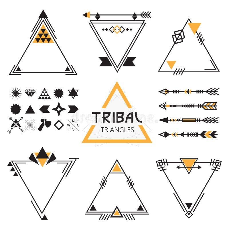 Stammen lege driehoekenetiketten, pijlen, en symbolen royalty-vrije illustratie