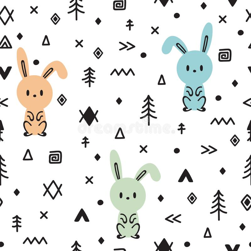 Stammen naadloos patroon met leuk hand getrokken konijntje Kinderachtige textuur voor stof of textiel De achtergrond van jonge ge vector illustratie