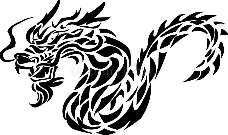 Stammen tatoegering van draak stock illustratie