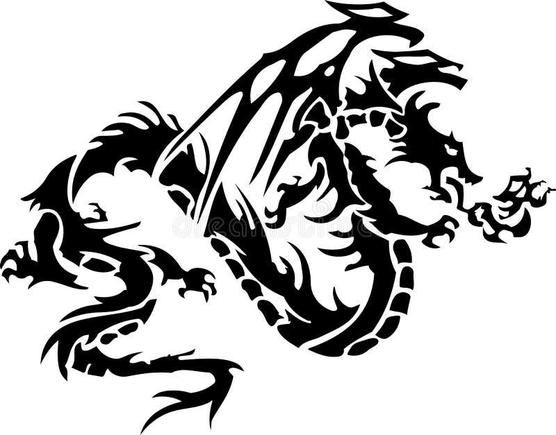 Stammen tatoegering van draak royalty-vrije illustratie
