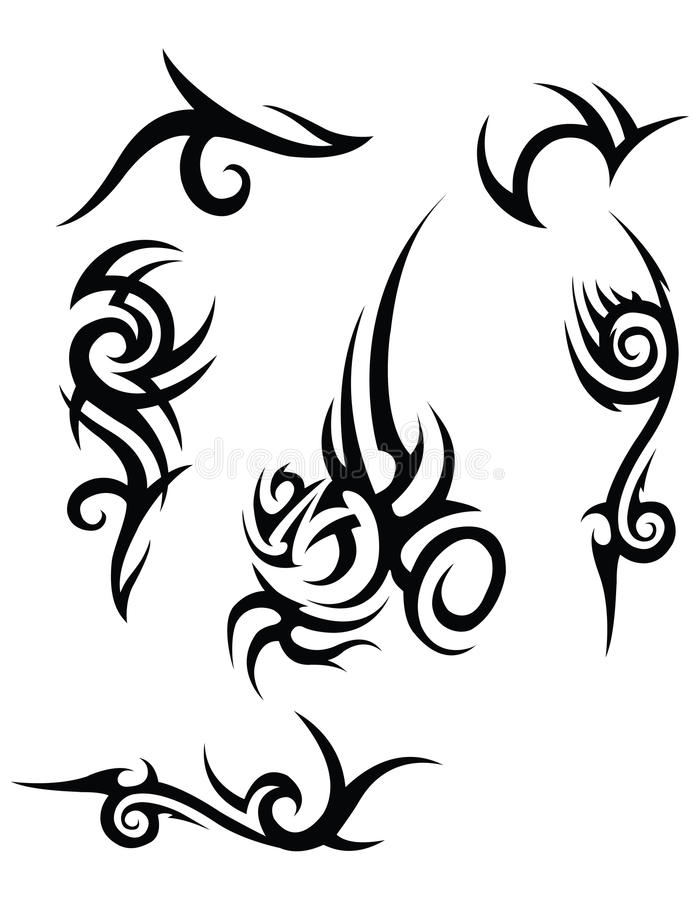 Stammen tatoegeringsontwerpen royalty-vrije illustratie