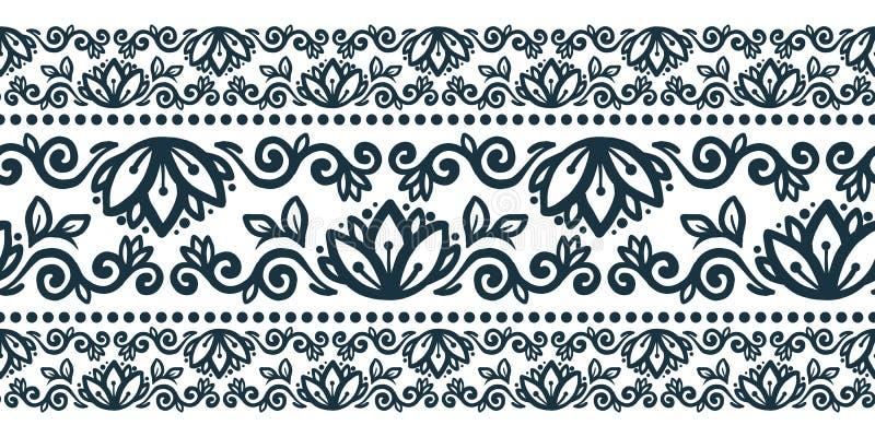 Stammen vector naadloos de lijnpatroon van de bloemenstijl vector illustratie
