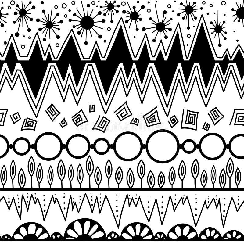 Stammen vector naadloos patroon Azteekse buitensporige abstracte geometrische kunstdruk Etnische hipsterachtergrond stock afbeelding