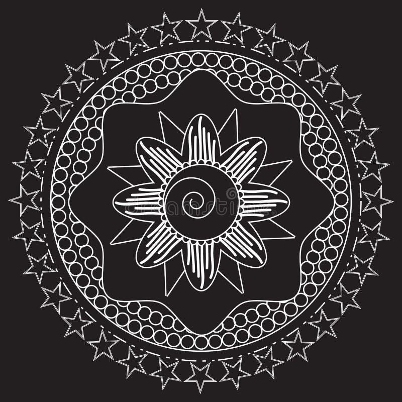 Stammen volks Azteeks geometrisch patroon in circl vector illustratie