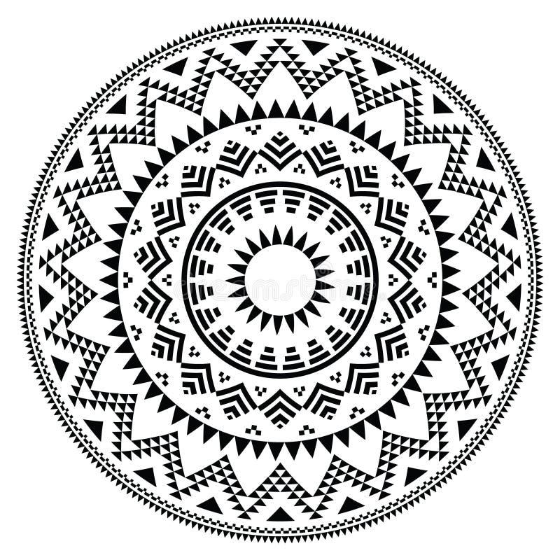 Stammen volks Azteeks geometrisch patroon in cirkel royalty-vrije illustratie